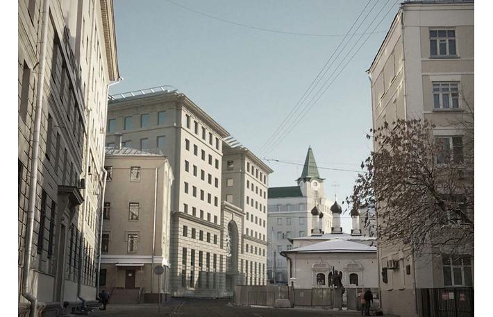 Проект восьмиэтажного корпуса в составе комплекса МВД России на Петровке, 38