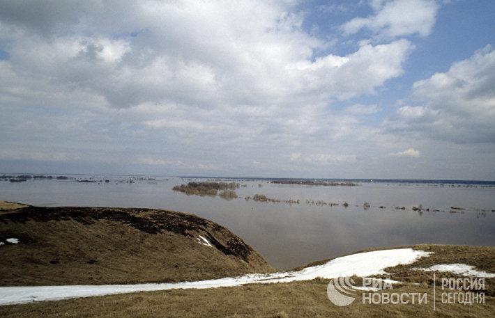 Разлив весной на Оке в районе города Белоомута Луховицкого района