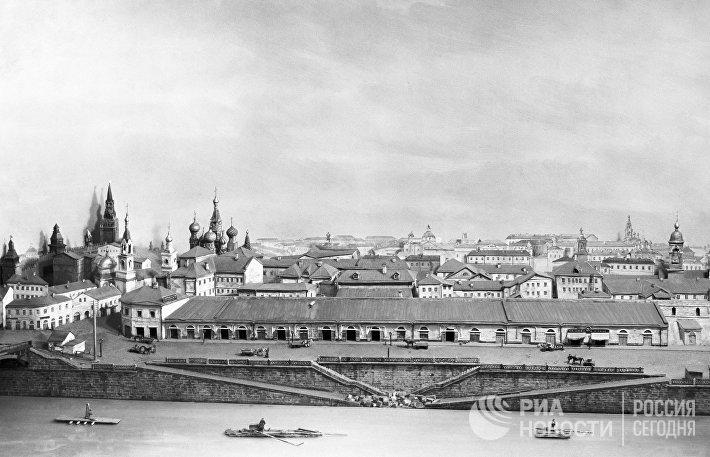 Макет общего вида Зарядья с Москвы-реки